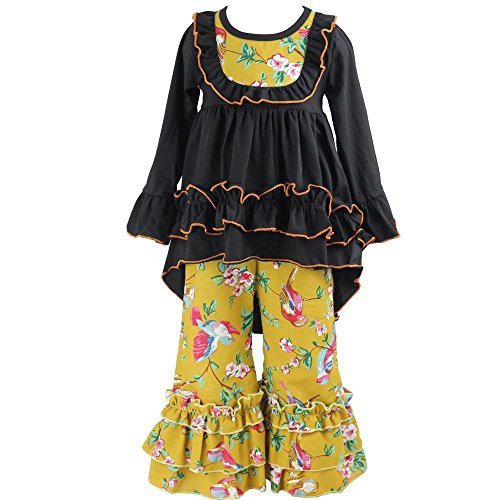 Mustard Pie Clearance (Wennikids Girls Clothes Outfit Kids Ruffle Shirts Dress Boutique Bell Pants Set Small Black)