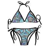 Devil Hippie Hip Hop Two Piece Bikini Swimsuits For Women Padded Bikini Set Top Beachwear High Cut
