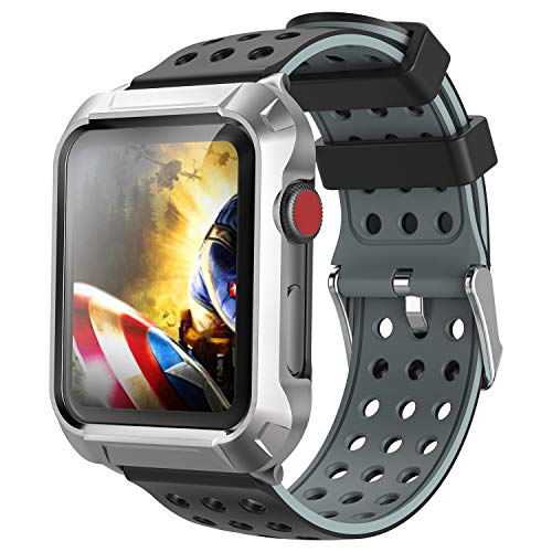 Compatible for Apple Watch Case 42mm, Greatfine Compatible for Apple Watch Band 42mm with Metal Protective Case Silicone Band for iWatch Series 3 2 1