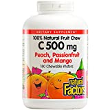 Natural Factors - Vitamin C 500mg, 100% Natural Fruit Chew, Peach, Passionfruit, & Mango, 180 Chewable Wafers