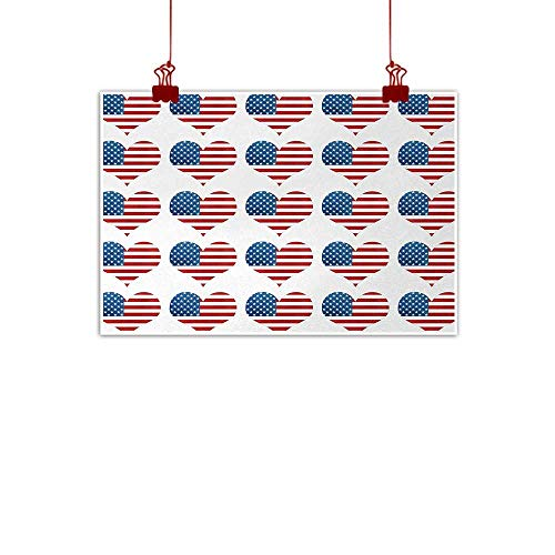 Sunset glow Art Poster Print American Flag,Heart Figures with Flag Idol Patriot Pattern Modern American Day Graphic Print,White Red 48