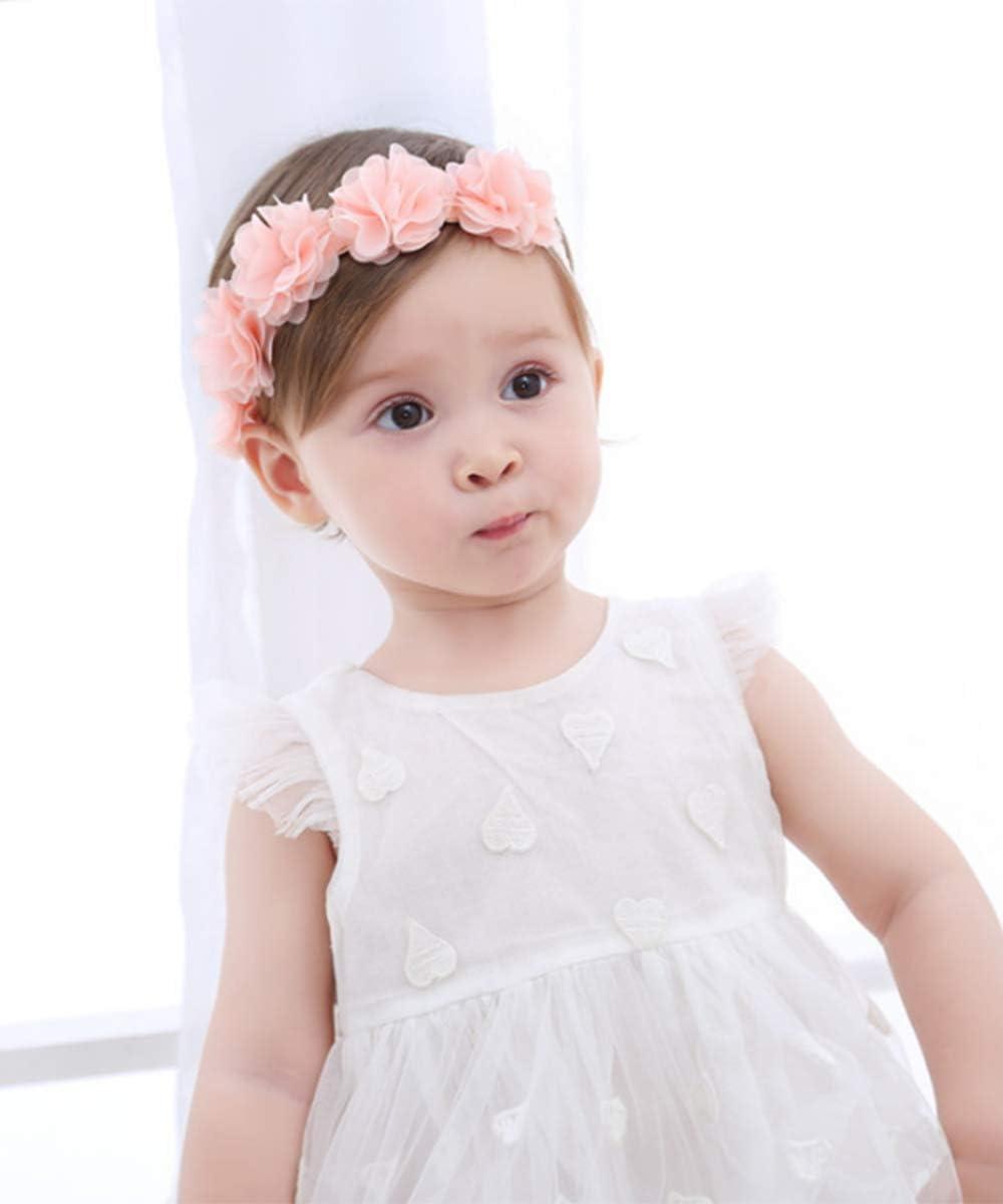 Deniferymakeup Bandeau /élastique en mousseline de soie pour b/éb/é Motif princesse fille Blanc et rose