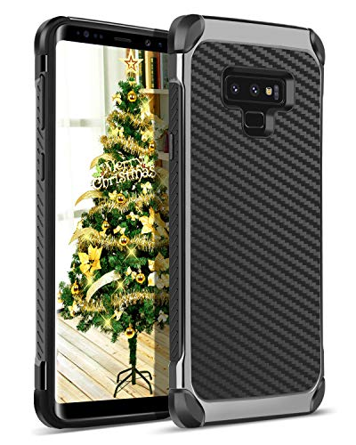 BENTOBEN Case for Galaxy Note 9 Protective Rugged 2 in 1 Hard PC Cover Hybrid Carbon Fiber Faux Leather Soft Rubber Bumper Phone Cover for Samsung Galaxy Note9 - Black