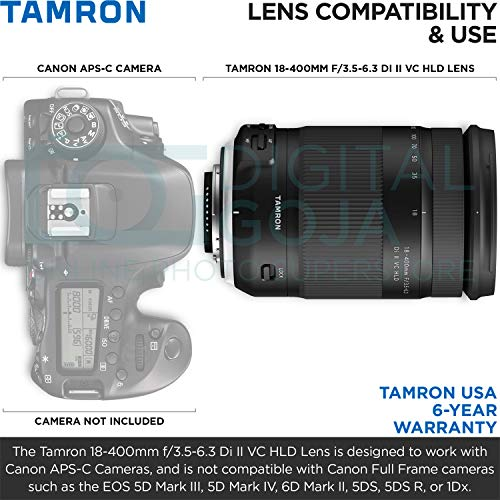 Tamron 18-400mm f/3.5-6.3 Di II VC HLD Lens for Canon DSLR Cameras with Altura Photo Essential Accessory and Travel Bundle
