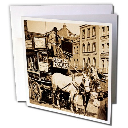 3dRose Scenes from the Past Magic Lantern Slides - Kings Cross London Street Tram Taxi Sepia - 1 Greeting Card with envelope (gc_8492_5)