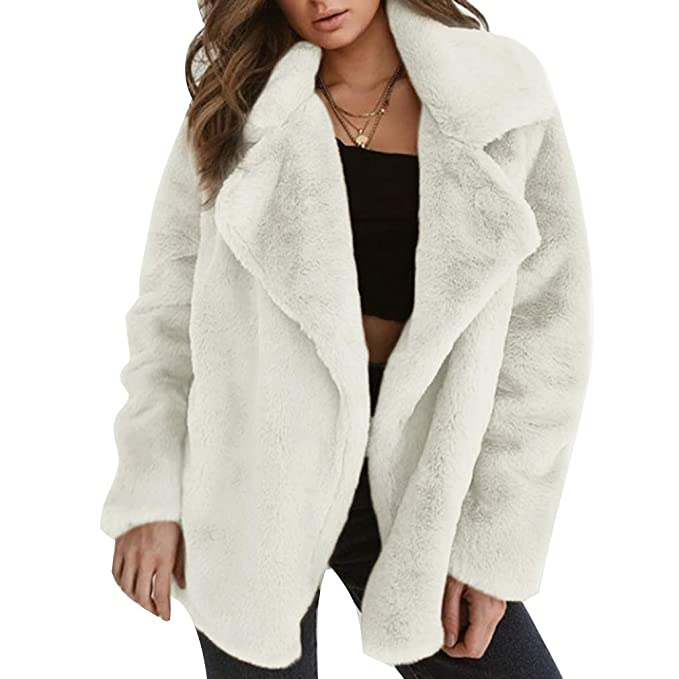 Moda para Mujer Oso De Peluche Prendas De Abrigo Fluffy Faux Fur Chaqueta De Invierno Solapa De Manga Larga Caliente Cardigan: Amazon.es: Ropa y accesorios