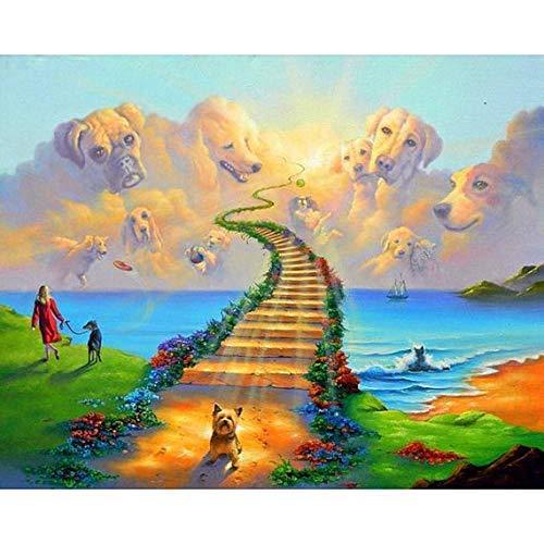 YINYINEE 5D Diamond Painting Kits for Adults Full Drill Dog Heaven Walk Rainbow Bridge Embroidery Rhinestone Painting-16 x 20