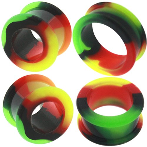 0 00 gauges Ear Plugs Flesh Tunnels Silicone Steel Screw Double Flared Stretcher Taper 5/8 gauges 5/8 16mm by MoDTanOiz - Flesh tunnels (Image #8)