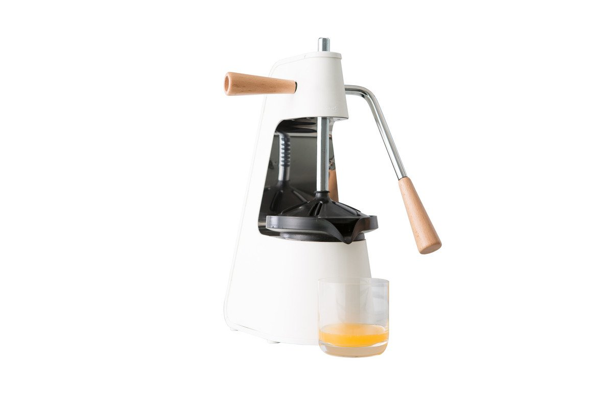 Chef'n FreshForce Tabletop Citrus Press (White/Stainless Steel/Wood)