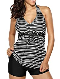 51338e674ce65 Bsubseach Womens V Neck Stripe Print Halter Tankini Top Swimsuit With Black  Bottoms