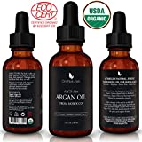 OneNaturals Organic Argan Oil for Hair, Skin, Body, Nails (2oz) - 100% Pure & USDA Organic -Triple Extra Virgin Moroccan Oil - Unscented, Unrefined, Cold Pressed, Imported from Morocco