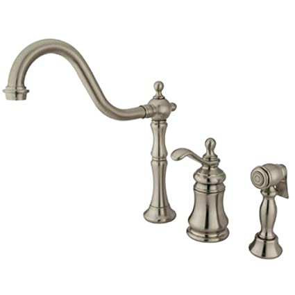 Victorian Single-Handle Side Sprayer Kitchen Faucet in Satin ...
