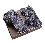 Lanburch Fashionable Premium Formal/Informal Ties Set, Necktie/Bow Tie/Pocket Square for Mens/Boys, Paisley Retro