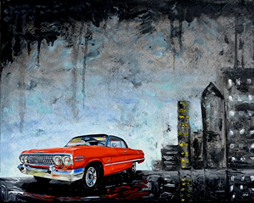 Red 1960's Chevrolet Impala, original oil painting, 1963, Chevy, car,