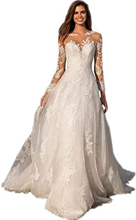 Meganbridal Plus Size Women S Long Sleeves Lace A Line Wedding Dress With Train Bohemian Bridal Party Ball Gown For Bride At Amazon Women S Clothing Store