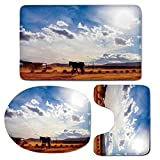 3 Piece Bath Mat Rug Set,Western-Decor,Bathroom Non-Slip Floor Mat,Horse-in-Monument-Valley-Open-Sky-with-Clouds-in-Arizona-America-Landscape,Pedestal Rug + Lid Toilet Cover + Bath Mat,Cream-Blue