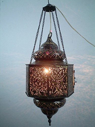 BR195 Vintage Reproduction Islamic Hand-Drilled Hand-Engraved Hanging Lantern by Generic