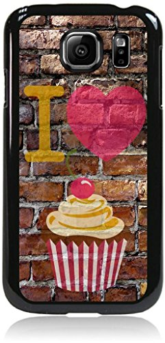 I Love Cupcakes-Wall-Art-Street-Art- Case for the Samsung® Galaxy s6 Only (Not the s6 EDGE)- Hard Black Plastic Snap On Case