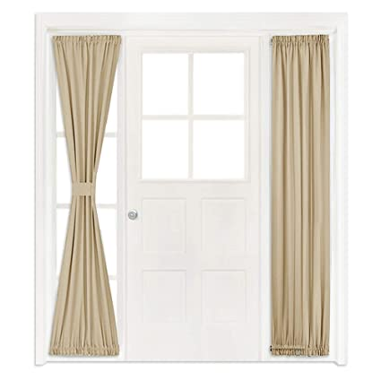 nicetown patio glass door curtains window treatment room darkening french door panel curtains two - Door Panel Curtains