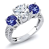 2.32 Ct Round White Topaz Blue Tanzanite AAAA 925 Sterling Silver 3-Stone Ring (Size 9)