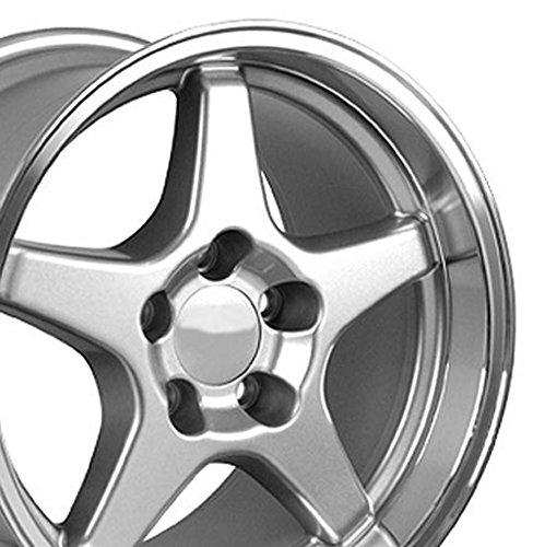 (OE Wheels 17 Inch Fits Chevy Camaro Corvette Pontiac Firebird ZR1 Style CV01 Silver with Machined Lip 17x11 Rim )