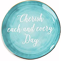 "Pavilion Gift Company Emmaline ""Cherish Each and Every Day"" Ceramic Decorative Plate, 5"", Teal"