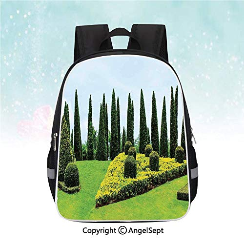 - Travel Backpack,Classic Formal Designed Garden With Evergreen Shrubs Boxwood Topiaries,13