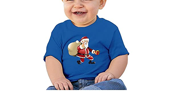 FFWWLHR Santa Claus and Bell Baby Novelty Tops Unisex Graphic Merry Christmas Cotton Baby Toddler T Shirt Tops