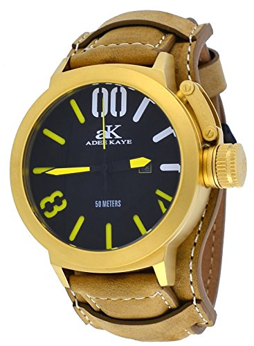 Adee Kaye #AK7285-MG/TAN849 Men's Gold Tone Canteen Crown Protector Leather Band Watch