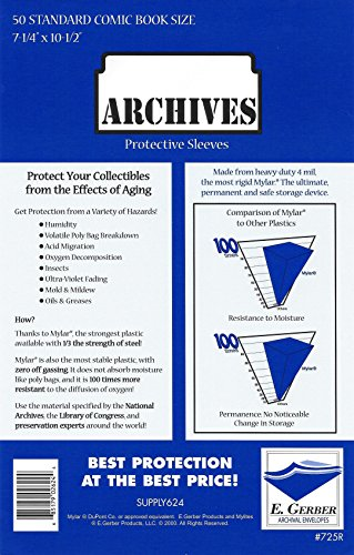Archives Standard Comic Book 4-Mil Thick Mylar Sleeves 7-1/4