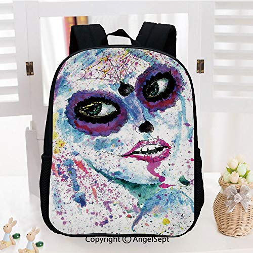 Casual Style Lightweight Backpack Grunge Halloween Lady with Sugar Skull Make Up Creepy Dead Face Gothic Woman Artsy School Bag Travel Daypack,Blue Purple -
