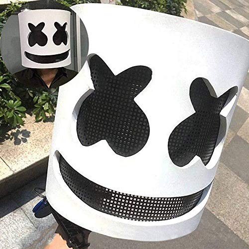 Shinequ-US Marshmallow Mask,Electronic Syllable DJ Headgear Novelty Costume Party Mask Halloween DJ Mask Party Scary Horror Zombie Mask Prom -