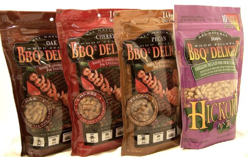 BBQrs Delight Smoker Pellets Variety Pack, 1 Lb Bags - Oak, Cherry, Pecan, Hickory (Pack of 4)