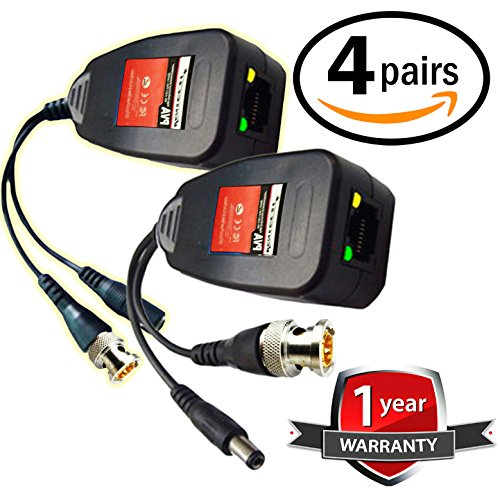 UTP balun hd Ventech cat5 to bnc video baluns transceiver passive with power connector compatible with all CCTV technologies( analog AHD TVI CVI ntsc pal ) 4 PAIRS rj45 75 ohn connectors (320 4 Channel Dvr)