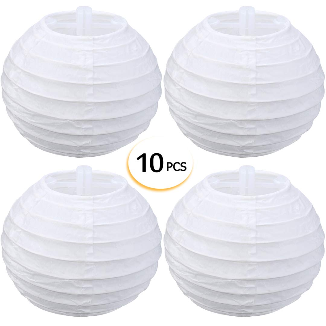 Round Paper Lanterns White Hanging Decoration for Festival,Party,Weddings (10cm/4inch) LANSEYQO