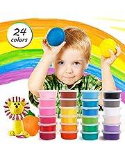 KOROSTRO Springknete, Kinderknete Knete Bunt Set Hüpfknete Mitgebsel für Kindergeburtstag Gastgeschenke Kinder DIY Handgemachtes Mitbringsel - 24 Farben