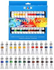 MumooBear 24 Colors Oil acrylic Paints Set Water Color for Hand Painted Wall Painting Textile Paint Nail Glass art Painting Paint Fabric Brightly Colored art Supplies Drawing Tools