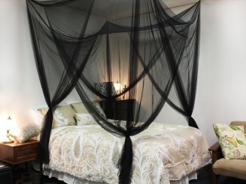 Black Four Corner Canopy Bed Netting Mosquito Net Full Queen King Size Bedding JDM Auto Lights