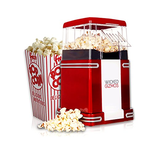 WICKED GIZMOS ® New Retro Electric Healthy Fat Free Popcorn Maker 1200w Power – Easy To Make Healthier Snack Popcorn Within 3 Mins (Energy Class A)