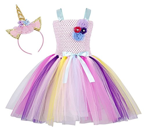 Rizoo Little Girls Rainbow Unicorn Outfits Summer Sleeveless Dresses with Headband Birthday Evening Tutu Dress (2-3T, -