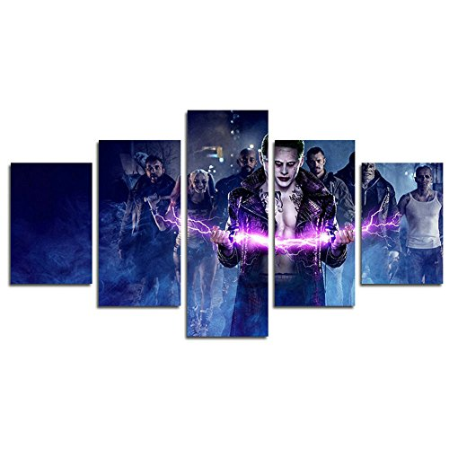 AtfArt 5 Piece Suicide team clown Harley Quinn movie painting for living room home decor Canvas art wall poster (No Frame) Unframed HB62 inch x30 inch by AtfArt