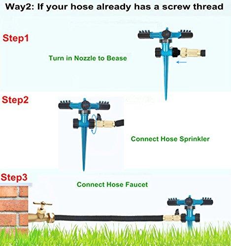 fibevon Lawn Sprinkler, Automatic Adjustable Garden Water Sprinkler 360 Rotating Watering Lawn Irrigation System/Leak Free Durable 3 Arm Sprayers