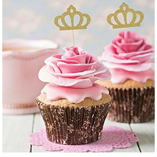 50 Pack Gold Glitter Crown Cupcake Toppers Glitter Party Cake Decorations from Unknown