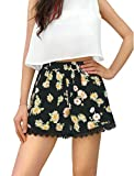 Allegra K Women Lace Hem Panel Flower Pattern Daisy Shorts M Black