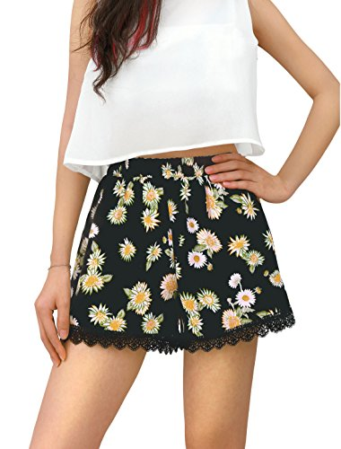 Allegra K Women's Allover Flower Prints Elastic Waist Daisy Shorts XS Black