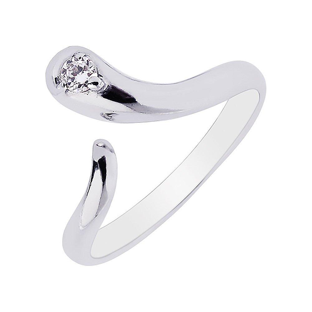 Sterling Silver Snake Cubic Zirconia Adjustable Toe Ring Ritastephens 1