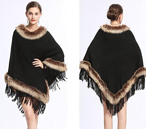 Lâche Gland Wanyang D'écharpe Noir Pull En De Manteau Mode Décontractée Tricot Châle Femmes xwHwYq4Ta