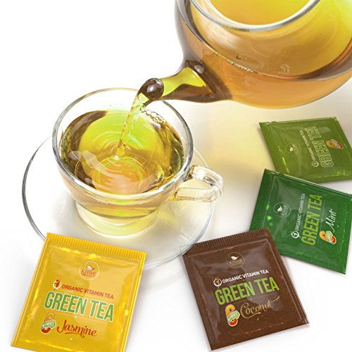 Organic Green Tea - Variety Pack - Organic Green Tea infused with Vitamins from All Natural Fruit Sources - 80 Tea Bags - 20 of Each Flavor (2 grams each)