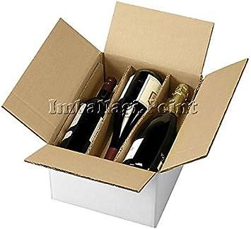 1 Caja de cartón para envío de 6 botellas de vino o licor con separador: Amazon.es: Bricolaje y herramientas