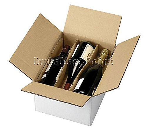 Imballaggi.Point 1Boîte d'expédition en carton pour 3bouteilles avec séparateurs – pour Vins / Alcools